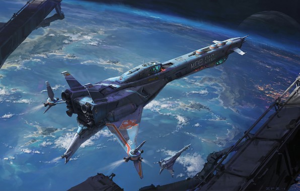 Картинка space, fantasy, science fiction, sci-fi, planet, artist, digital art, spaceships, artwork, fantasy art, futuristic, Pengzhen …