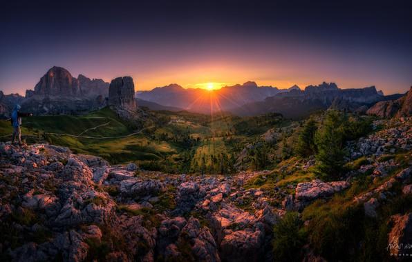 Картинка лучи, природа, скалы, рассвет, долина, Lukas Watschinger