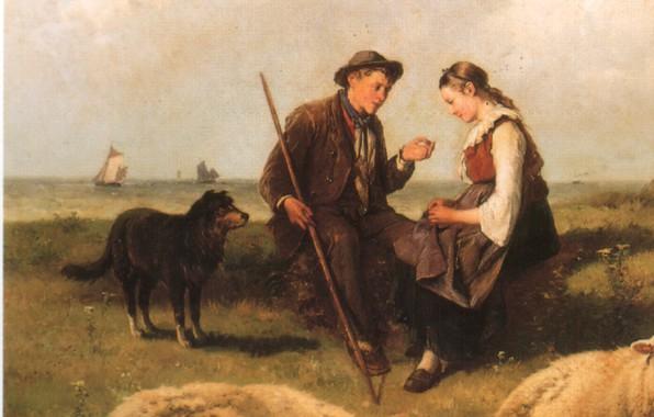 Картинка собака, пастбище, парень и девушка, THÉODORE GERARD