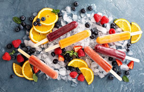 Картинка лед, ягоды, малина, апельсины, черника, клубника, мороженое, фрукты