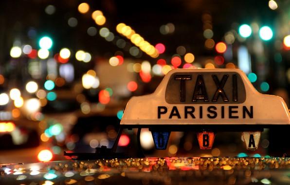 Картинка Lights, Night, Macro, Taxi