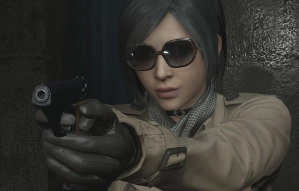Картинка Девушка, Игра, Пистолет, Очки, Перчатки, Ada Wong, Ада Вонг, Пальто, Resident Evil 2 Remake