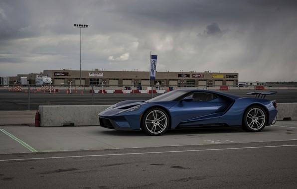 Картинка небо, асфальт, синий, пасмурно, Ford, Ford GT