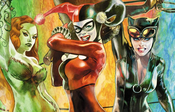 Картинка fantasy, girls, comics, cover, artwork, superhero, fantasy art, DC Comics, Catwoman, Harley Quinn, Poison Ivy, …