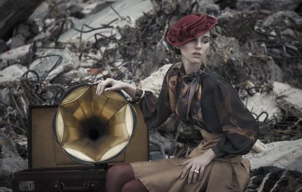 Картинка девушка, стиль, граммофон