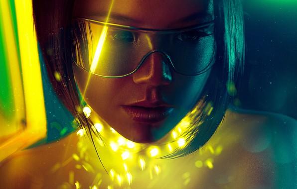 Картинка взгляд, девушка, очки, girl, киборг, look, glasses, мир будущего, cyborg, fantastic art, фантастический арт, лицо …