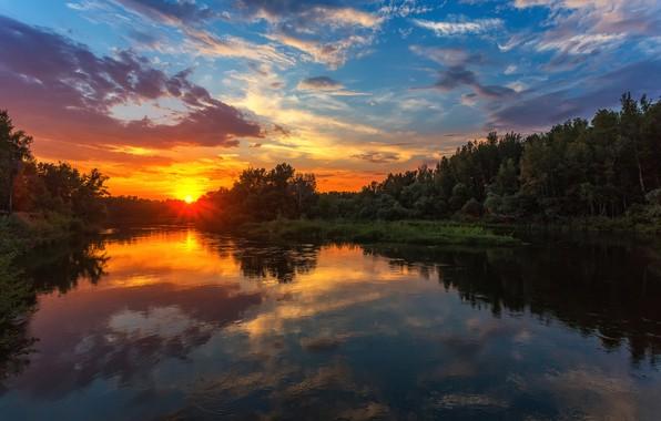 Картинка небо, деревья, закат, отражение, река, Павел Сагайдак, река Урал