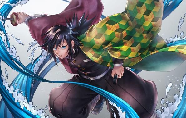 Картинка sword, anime, blue eyes, katana, boy, Kimetsu no Yaiba, Giyu Tomioka