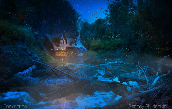 Картинка лес, вода, звезды, ночь, магия, trine
