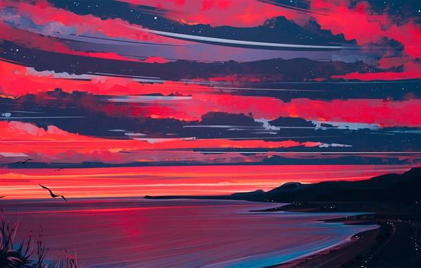 Картинка Природа, Облака, Море, Рисунок, Берег, Heaven, Арт, Aenami, by Aenami, Alena Aenami, by Alena Aenami, …