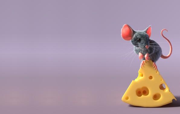 Картинка рендеринг, мышка, детская, freelancer, Sergey Pletnev, mouse and cheese