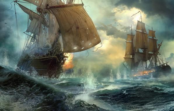 Картинка корабли, дуэль, морской бой, Duel, Vladimir Manyukhin