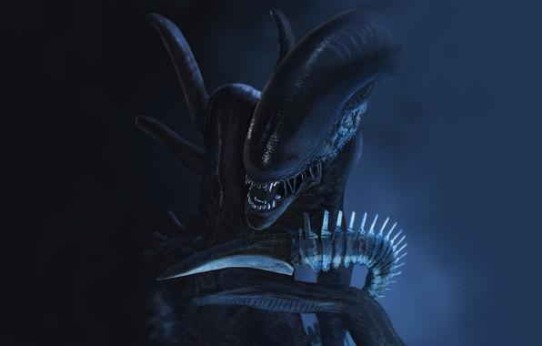 Картинка страх, монстр, Чужой, пасть, клыки, пришелец, ужас, Alien, в темноте, людоед, by Thomas