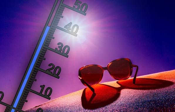 Картинка лето, жара, очки, градусник