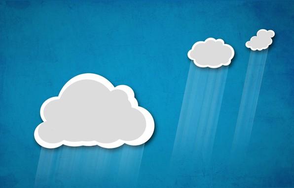 Картинка небо, облака, дождь, аппликация