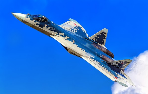 Картинка многоцелевой истребитель, ВКС России, истребитель пятого поколения, Су-57, Su-57