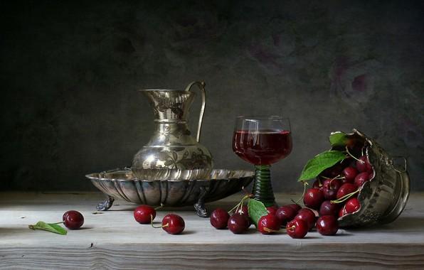 Картинка вишня, напиток, кувшин, натюрморт, wood, наливка