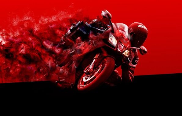 Картинка red, black, moto, Aprilia, bike, smoke, racer, motocycle