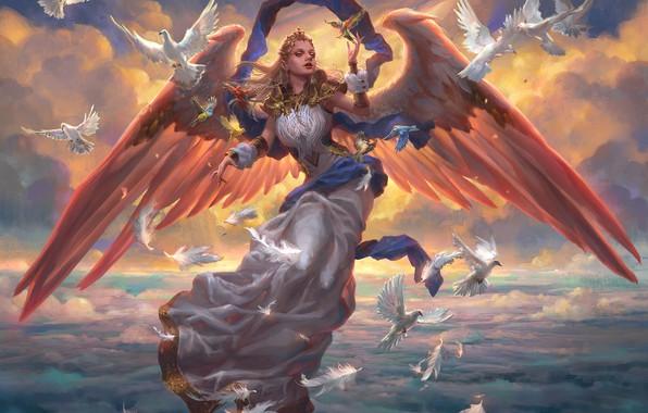 Картинка небо, облака, украшения, высота, крылья, ангел, голуби, диадема, sky, wings, большая грудь, clouds, angel, Magic …