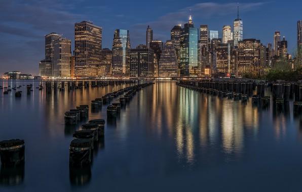 Картинка ночь, дома, Нью-Йорк, США, Манхэттен