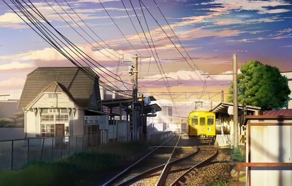 Картинка город, провода, дома