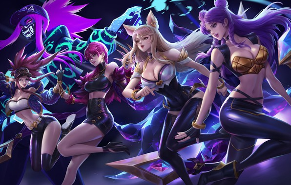 Картинка Девушки, Игра, Арт, Art, Girls, Game, Akali, League of Legends, LoL, Ahri, Evelynn, Ари, Artist, …