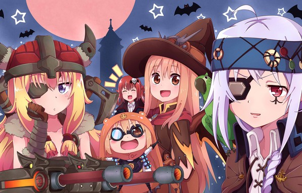 Картинка девочки, летучие мыши, костюмы, хеллоуин