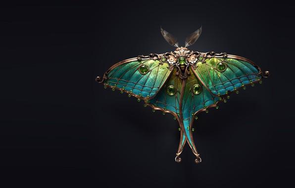 Картинка арт, мотылёк, брошь, Sasha Vinogradova, Jewel moth