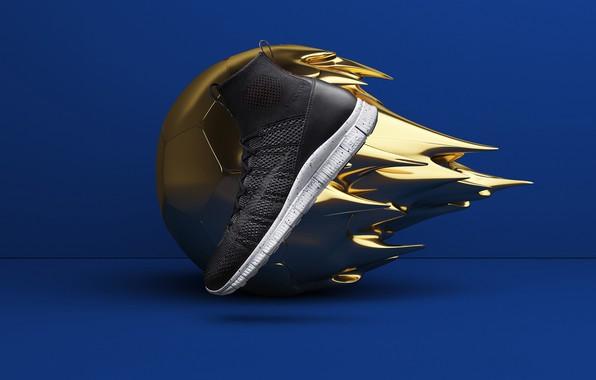 Картинка рендеринг, мяч, обувь, реклама, кроссовки, nike