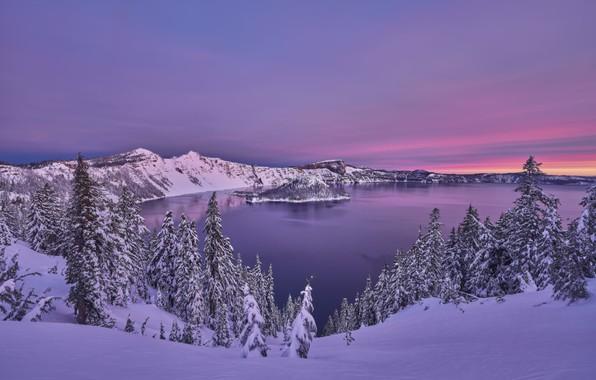 Картинка зима, снег, деревья, закат, горы, озеро, ели, Орегон, Oregon, Crater Lake, Crater Lake National Park, …