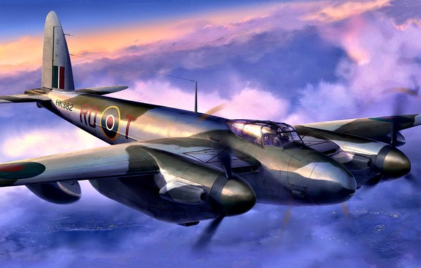 Картинка RAF, ночной истребитель, WWII, Mosquito, 29 Squadron, night intruder, Mosquito NF.Mk.XIII, поздняя версия