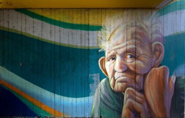 Картинка город, стена, граффити