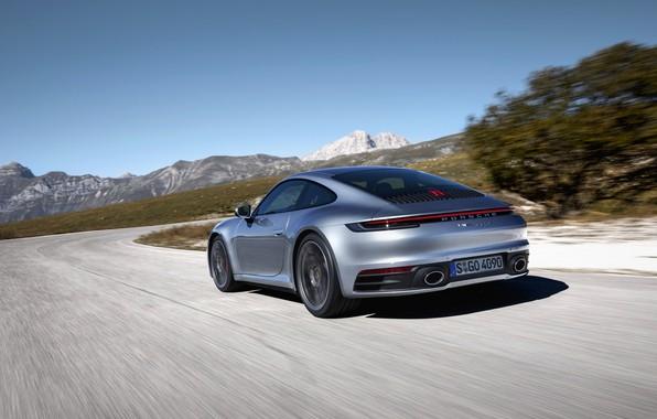 Картинка движение, купе, 911, Porsche, Carrera 4S, 992, 2019
