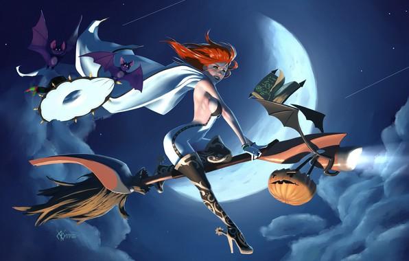 Картинка ночь, Halloween, рыжая, ведьма, заклинание, летучие мыши, плащ, полнолуние, комбинезон, ботфорты, шабаш, светильник Джека, шляпа …