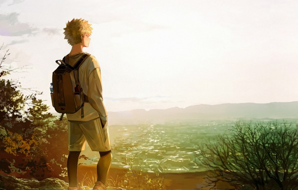 Картинка трава, простор, Моя геройская академия, Boku No Hero Academia, Бакуго Катсуки