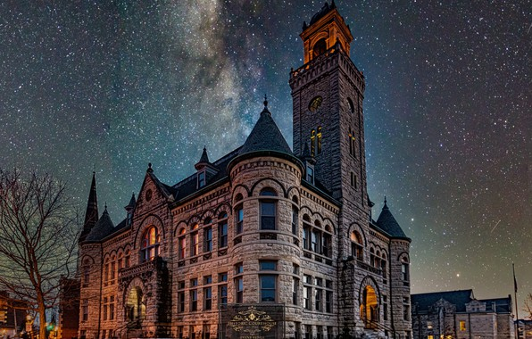Картинка здание, звёзды, Висконсин, архитектура, Wisconsin, звёздное небо, Уокешо, Historic Courthouse, Waukesha