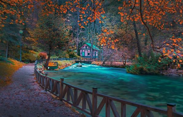 Картинка осень, лес, деревья, пейзаж, горы, природа, дом, парк, река, ограждение, фонари, мостик, Босния, Mevludin Sejmenovic