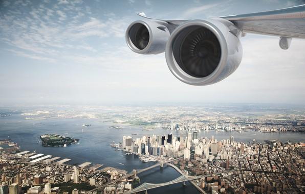Картинка Город, Полет, Сверху, Двигатель, США, Двигатели, Нью Йорк, New York, New York City, Самолёт, Летит, …