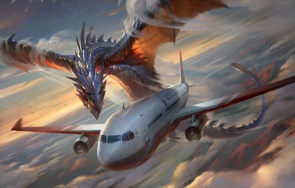 Картинка Небо, Облака, Дракон, Самолет, Лайнер, Полет, Крылья, Чудовище, Нападение, Clouds, Sky, Dragon, Monster, Art, Авиация, …