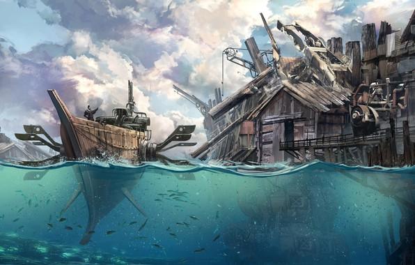 Картинка Вода, Море, Рисунок, Город, Лодка, Корабль, Здания, Fantasy, Арт, Фантастика, Concept Art, Steampunk, Стимпанк, Ship, …