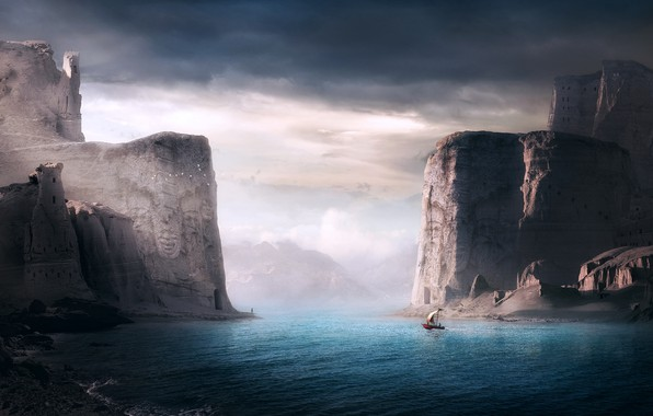 Картинка скалы, берег, лодка, rocks, shore, boat, Sherry Akrami