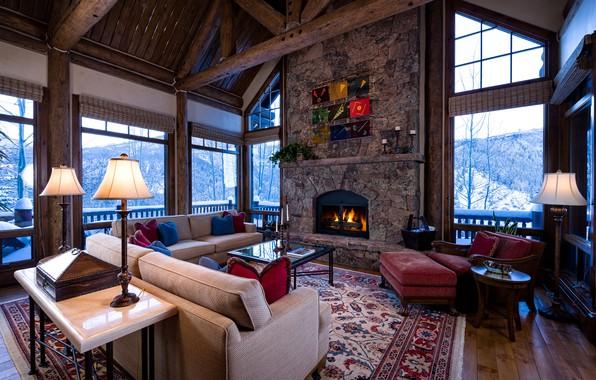 Картинка living room, interior, fireplace, Colorado, Arrowhead