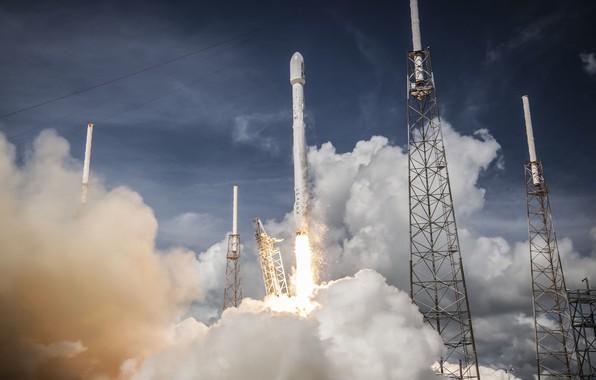 Картинка ракета, взлет, rocket, spacex, falcon heavy