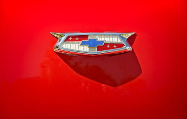 Картинка Chevrolet, эмблема, красный фон