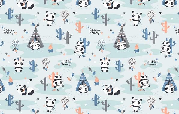 Картинка pattern, textures, funny, cute, 4k ultra hd background, pandas