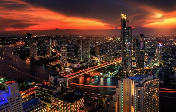 Картинка ночь, город, Тайланд, Бангкок