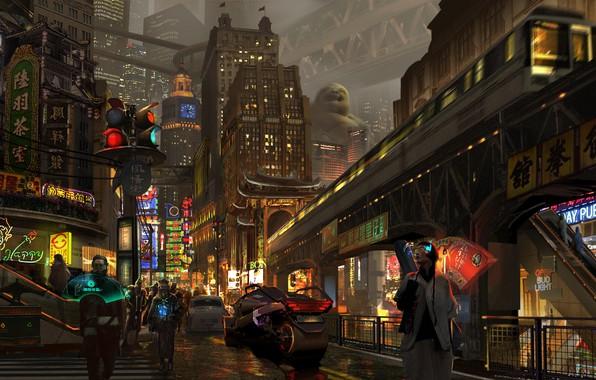 Картинка China, Город, Неон, Улица, Люди, Стиль, Метро, Китай, City, Арт, Art, Style, Фантастика, Street, Neon, …