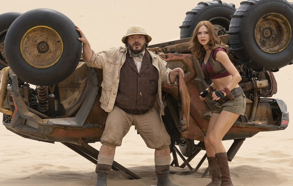 Картинка car, girl, desert, actor, man, movie, film, actress, Jack Black, Karen Gillan, Jumanji: The next …