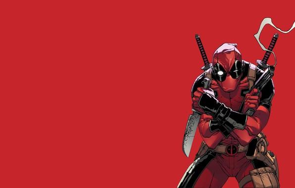 Картинка Красный, Пистолет, Дым, Нож, Костюм, Оружие, Red, Мечи, Gun, Deadpool, Marvel, Дэдпул, Smoke, Marvel Comics, …