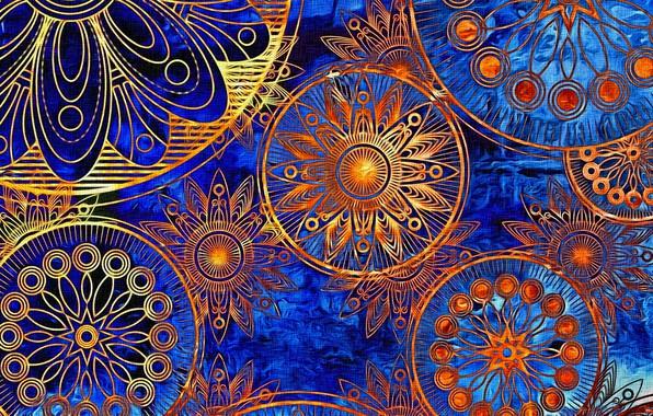 Картинка яркие краски, абстракция, фон, рисунок, орнамент, картинка, холст, индийский узор, акрил